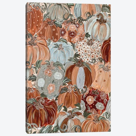 Pattern Pumpkin Florals Canvas Print #KBY2} by Katie Bryant Canvas Art