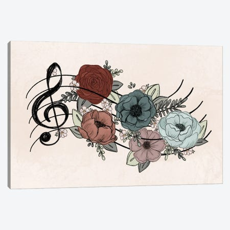 Music Florals Canvas Print #KBY32} by Katie Bryant Art Print