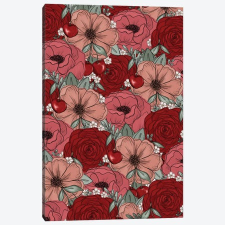 Cherry Sketched Florals Canvas Print #KBY34} by Katie Bryant Canvas Wall Art