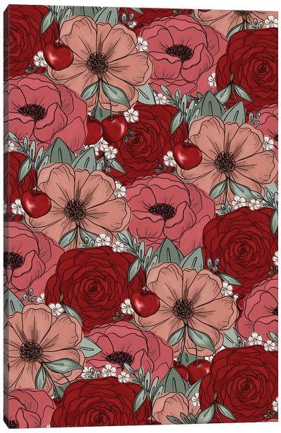 Cherry Sketched Florals Canvas Art Print