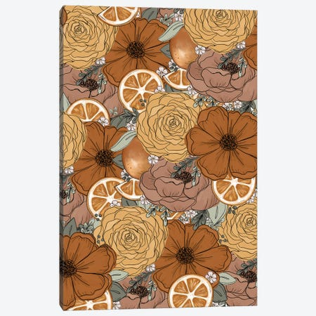 Orange Sketched Florals Canvas Print #KBY35} by Katie Bryant Canvas Wall Art