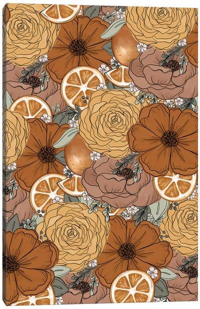Orange Sketched Florals Canvas Art Print