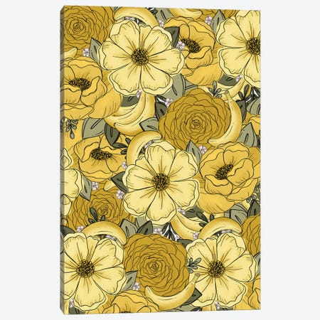 Banana Sketched Florals Canvas Print #KBY36} by Katie Bryant Canvas Wall Art