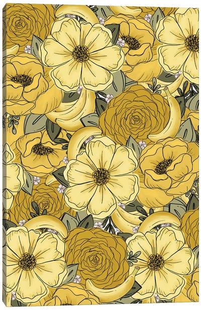 Banana Sketched Florals Canvas Art Print