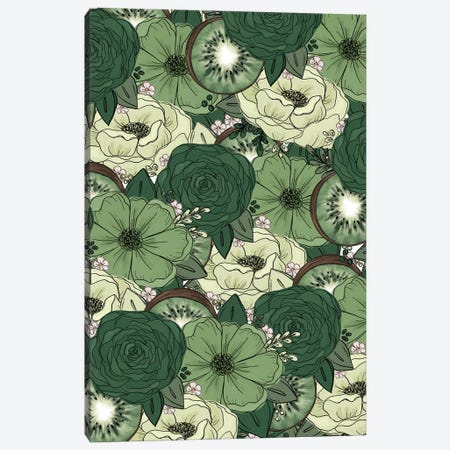 Kiwi Sketched Florals Canvas Print #KBY37} by Katie Bryant Canvas Wall Art
