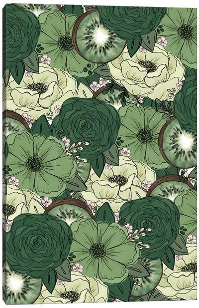 Kiwi Sketched Florals Canvas Art Print