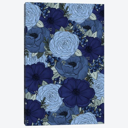 Blueberry Sketched Florals Canvas Print #KBY38} by Katie Bryant Canvas Print