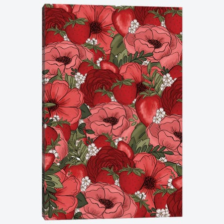 Strawberry Sketched Florals Canvas Print #KBY39} by Katie Bryant Canvas Print