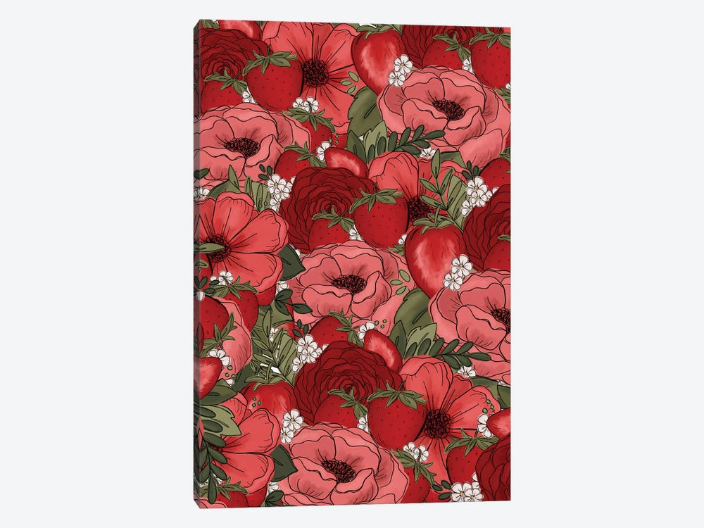 Strawberry Sketched Florals by Katie Bryant 1-piece Canvas Print