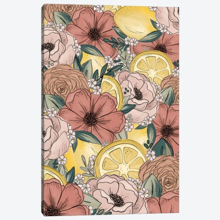 Lemon Sketched Florals Canvas Print #KBY40} by Katie Bryant Canvas Artwork