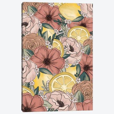 Lemon Sketched Florals Canvas Print #KBY40} by Katie Bryant Canvas Artwork
