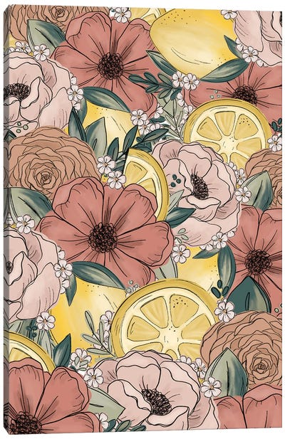 Lemon Sketched Florals Canvas Art Print