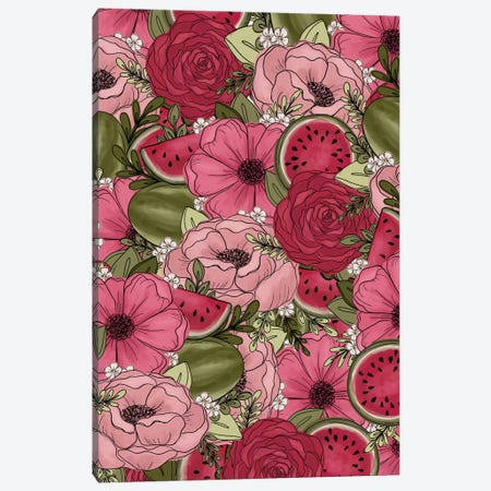 Watermelon Sketched Florals Canvas Print #KBY41} by Katie Bryant Canvas Wall Art