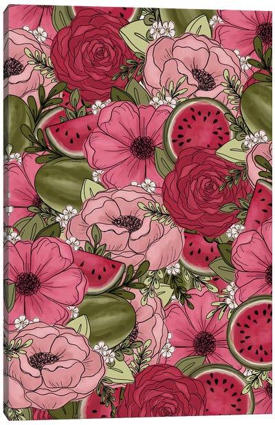 Watermelon Sketched Florals Canvas Art Print