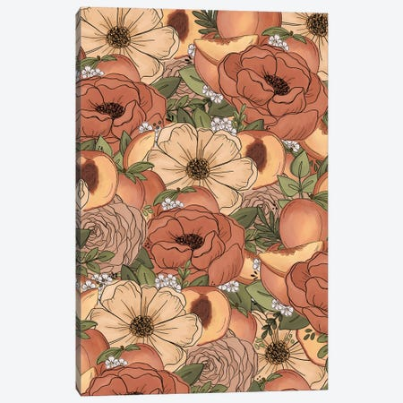 Peach Sketched Florals Canvas Print #KBY42} by Katie Bryant Canvas Artwork