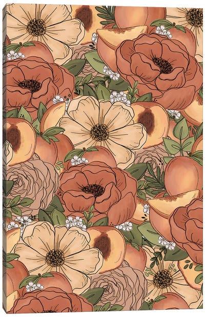 Peach Sketched Florals Canvas Art Print