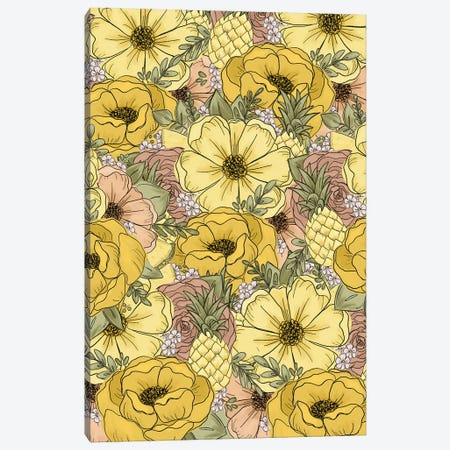Pineapple Sketched Florals Canvas Print #KBY43} by Katie Bryant Canvas Art