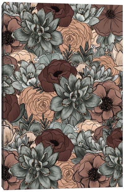 Moody Succulent Florals Canvas Art Print