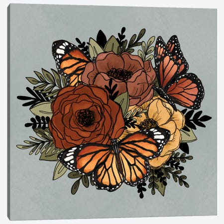Orange Butterfly Florals Canvas Print #KBY45} by Katie Bryant Canvas Art Print