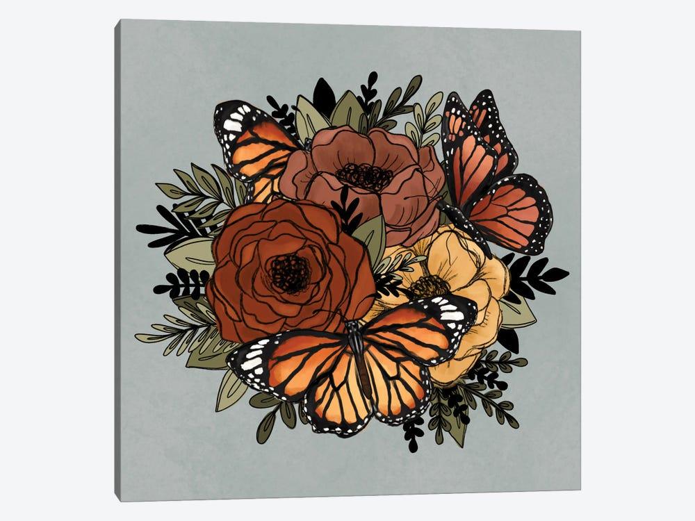 Orange Butterfly Florals by Katie Bryant 1-piece Canvas Wall Art