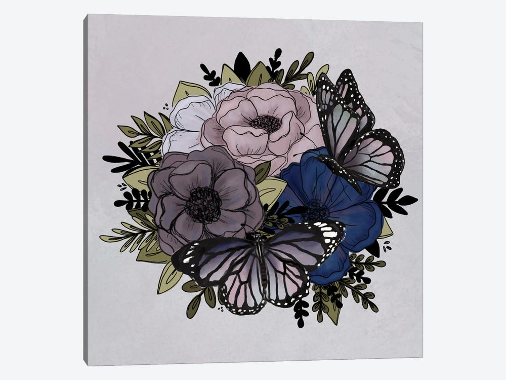 Purple Butterfly Florals by Katie Bryant 1-piece Canvas Art Print