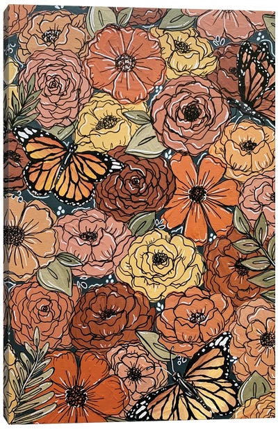 Colorful Butterfly Florals Canvas Art Print