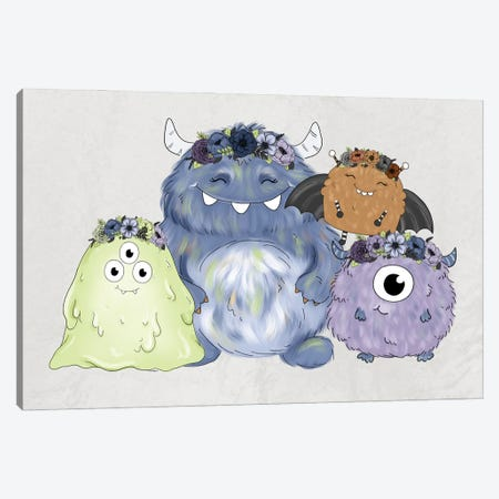 Floral Crown Monster Friends Canvas Print #KBY55} by Katie Bryant Canvas Art