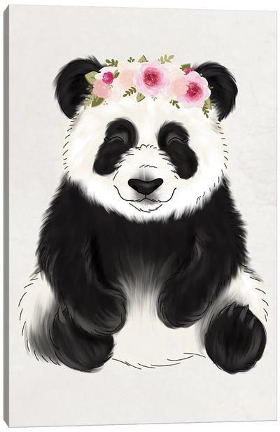 Floral Crown Baby Panda Canvas Art Print