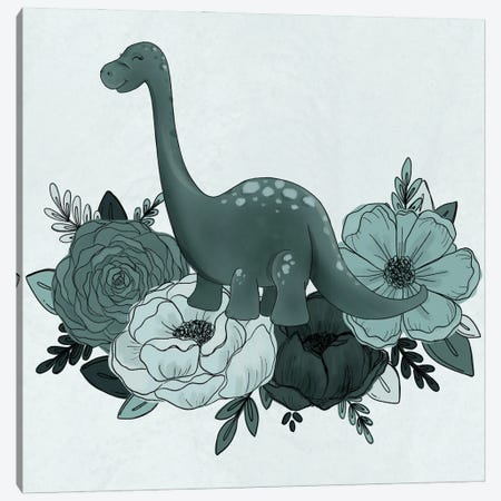 Brontosaurus Florals Canvas Print #KBY62} by Katie Bryant Canvas Artwork