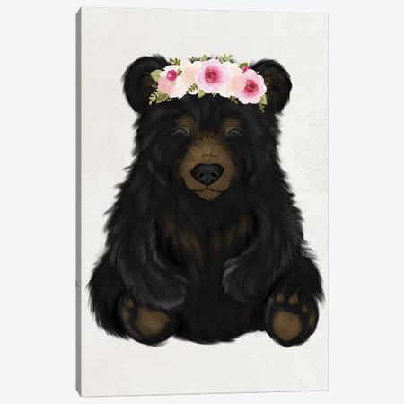 Floral Crown Baby Black Bear Canvas Print #KBY69} by Katie Bryant Canvas Art