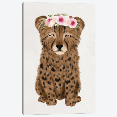 Floral Crown Baby Cheetah Canvas Print #KBY71} by Katie Bryant Canvas Art Print
