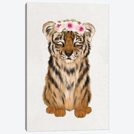 Floral Crown Baby Tiger Canvas Print #KBY73} by Katie Bryant Canvas Art Print