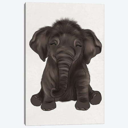 Baby Elephant Canvas Print #KBY74} by Katie Bryant Canvas Wall Art