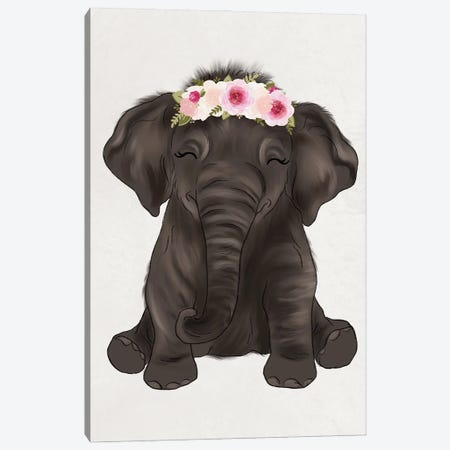 Floral Crown Baby Elephant Canvas Print #KBY75} by Katie Bryant Canvas Art