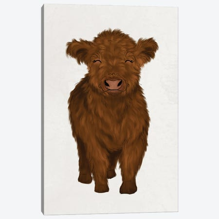 Baby Highland Cow Canvas Print #KBY76} by Katie Bryant Canvas Art