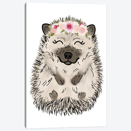 Floral Crown Hedgehog Canvas Print #KBY79} by Katie Bryant Canvas Print