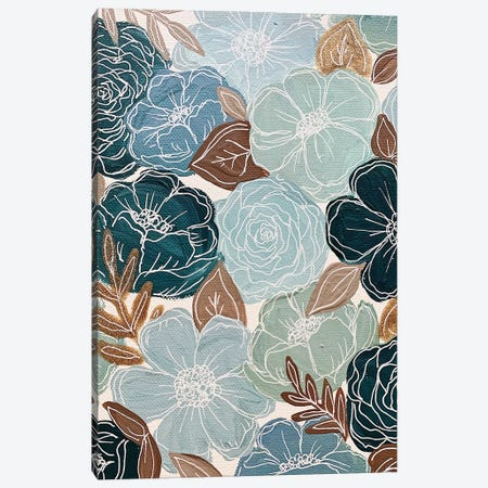 Blue Florals Canvas Print #KBY82} by Katie Bryant Canvas Artwork