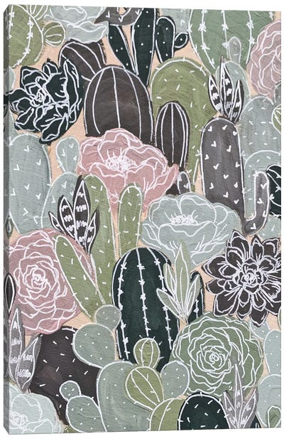 White Outlined Cactus Florals Canvas Art Print