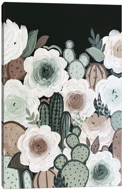 Muted Cactus Florals Canvas Art Print