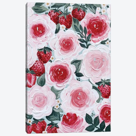 Strawberry Florals Canvas Print #KBY85} by Katie Bryant Canvas Print