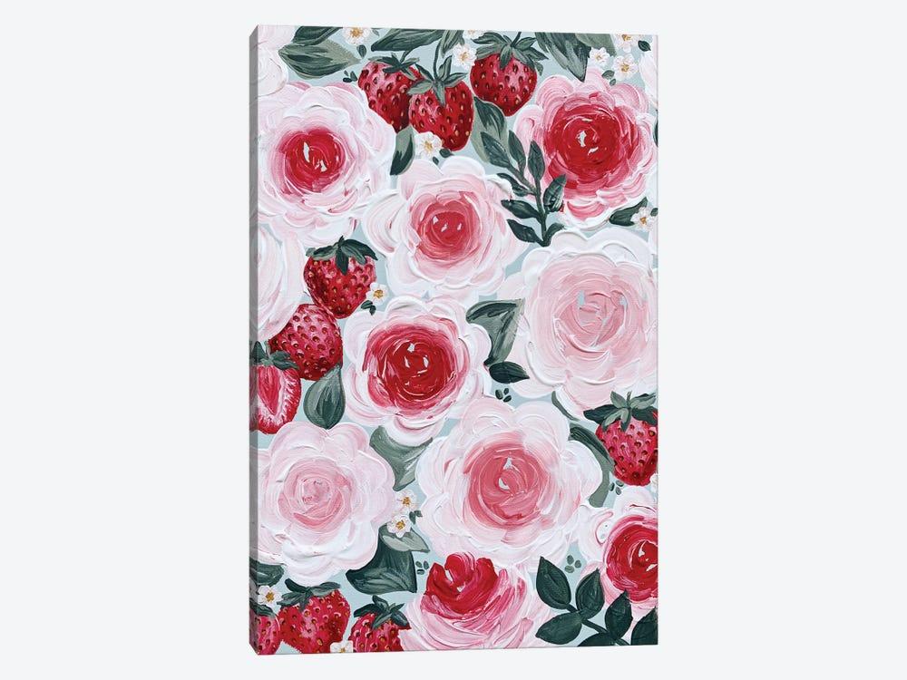 Strawberry Florals by Katie Bryant 1-piece Canvas Artwork