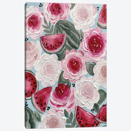 Watermelon Florals Canvas Print #KBY86} by Katie Bryant Canvas Art Print
