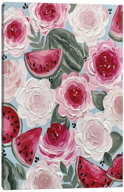 Watermelon Florals Canvas Art Print