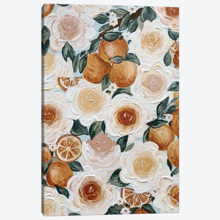 Floral Oranges Canvas Print #KBY87} by Katie Bryant Canvas Art Print
