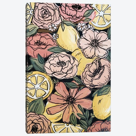 Black Outlined Lemon Florals Canvas Print #KBY88} by Katie Bryant Canvas Artwork
