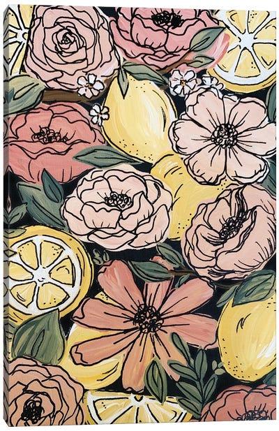 Black Outlined Lemon Florals Canvas Art Print