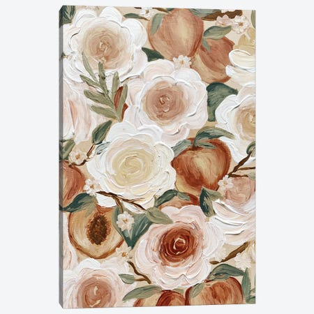 Floral Peaches Canvas Print #KBY89} by Katie Bryant Canvas Wall Art