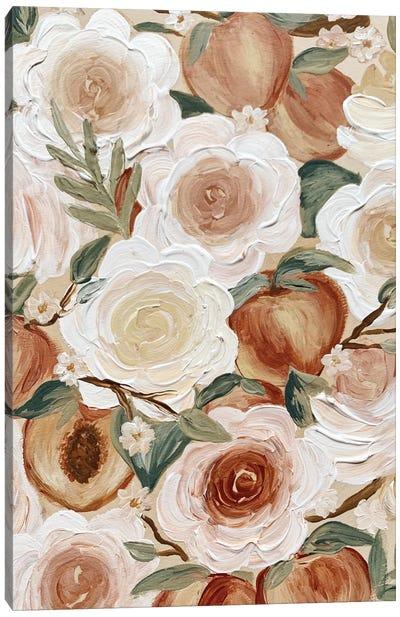 Floral Peaches Canvas Art Print