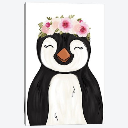 Floral Crown Penguin Canvas Print #KBY96} by Katie Bryant Canvas Art