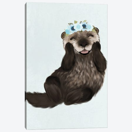 Floral Crown Otter Canvas Print #KBY99} by Katie Bryant Canvas Print